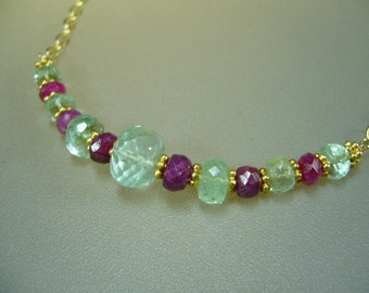 Columbian Emerald Ruby Gold Necklace