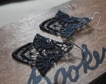Lace Wing Earrings on Sterling Silver