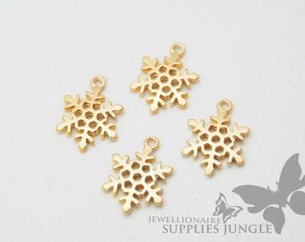 P218-01-MG// Matt Gold Plated Snowflake Pendant, 4pcs