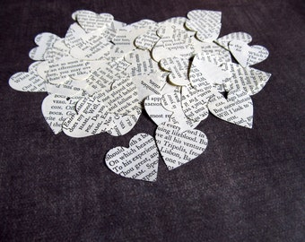200 Shakespeare Heart Confetti, Party Decor, Weddings, Vintage, Love, Romance, Book Text, Black and White