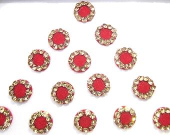 Bridal Red Round Bindis ,Round Bindis,Velvet Red Bindis,Wedding Round Bindis,indian bindi,Bollywood Bindis,Self Adhesive Stickers Pack