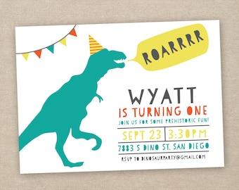 dinosaur birthday invitation - first birthday invitation
