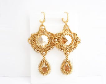 Gold dangle beadwork earrings with Swarovski crystals