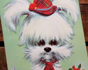 Vintage Pastel Pets Oversized White Puppy Greeting Card - Unused - Vintage Birthday Card, Scottish Terrier