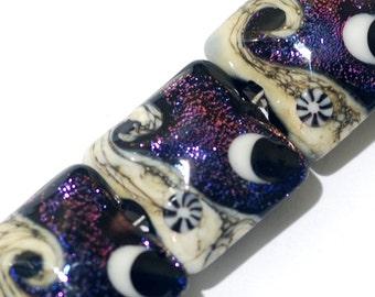 Four Amethyst Jewel Celestial Pillow Beads -10706314 - Handmade Lampwork Glass