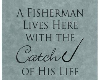 Signe de pêcheur, en cuir, signe, la pêche, cuir cadeau, fête des pères, cadeau fête des pères, cadeau pour homme, les papas et diplômés, idée cadeau de---27861-LSN1-039