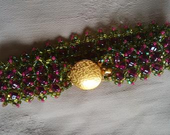 hand made flat cuff beaded bracelet