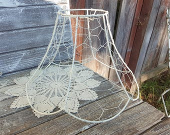 Lampshade wire rings etsy vintage chicken wire jewelry tree ring key caddy swag metal lampshade chippy white chandelier cottage lamp greentooth Gallery