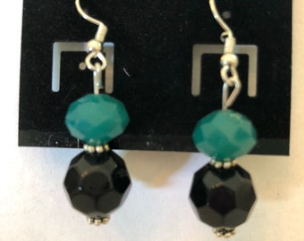 Teal and Black Drop Earrings