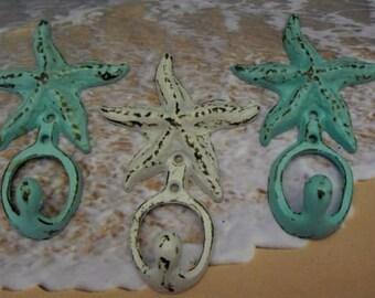 Starfish Cast Iron Wall Hook Set of 3 Blue White Shabby Chic Cottage Chic Beach Nautical Home Decor