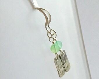 Chrysoprase Earrings, Silver Hammered, Seafoam Green