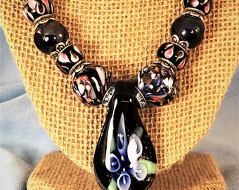 LAMPWORK GLASS PENDENT Necklace, Murano Glass Bead Necklace, Pendent Necklace