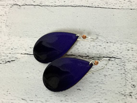 """Handmade Royal Blue & Black Ombre Enameled Copper Sterling Silver Drop Dangle Earrings 1.75"""" Professional Office Accessories Metalsmith #J17"""