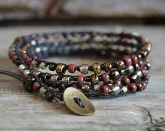Beaded Wrap Bracelet, Boho Bracelet, Beaded Crochet Bracelet, Women's Crocheted Wrap Bracelet, Crocheted Jewelry, Crochet Wrap