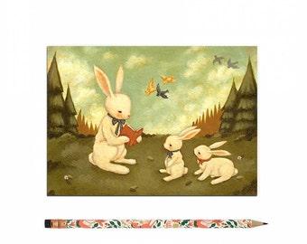 Buch-Liebhaber-Postkarte, Bookworm Karte, lesen, Kaninchen, Wald, Hase, Hasen, Kinder, Mädchen, Lehrer, niedlich, Buch-Liebhaber, Bücherwurm, Geschichte