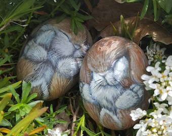 Twins! Baby bunnies hand painted on stone, by Shelli Carriveau