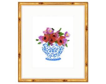 Floral Bouquet no. 1 -- Chinoiserie Print -- Watercolor Print -- Home Decor