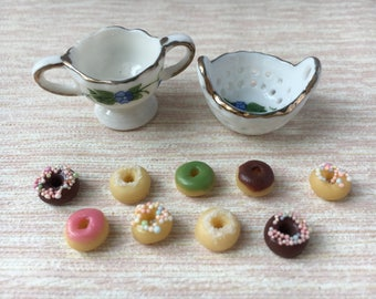 Dolls house Miniature donuts & bowl x 2
