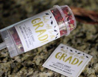 Graduation - Hats Off to the Grad - Custom Confetti Poppers - Set of 5
