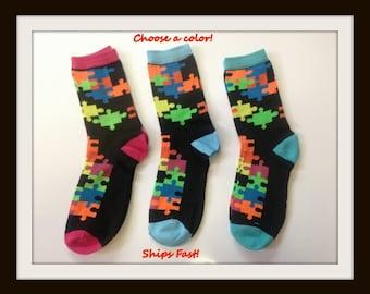 Jigsaw Puzzle Socks size 9-11.  Puzzle pattern socks.  Autism Awareness puzzle socks. Puzzle Pattern Socks.