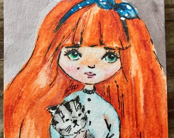 Aceo original watercolor painting artist trading card