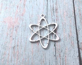 5 Large Atom charms silver toned charm (2 sided) - silver atom pendants, science charms, chemistry charms, science pendants, BX299