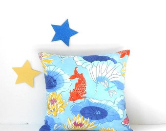 Indoor Outdoor Koi Pillow, 18x18 Blue Yellow Navy Orange Fish Sunroom Pillow, Summer Decor Pillow Sham, Beach House, Patio or Deck Pillow