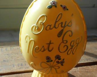 1950's Easter Egg Bank- Hard Plastic- Babys Nest Egg
