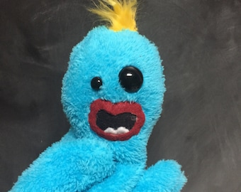 Misfit Puppet, Blue Monster Glove Puppet, imperfect, quiet play, imaginitive toy, hand puppet
