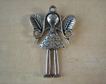 1PC - Angel Girl Charm - Antique Silver - 55x35mm - Findings by ZARDENIA