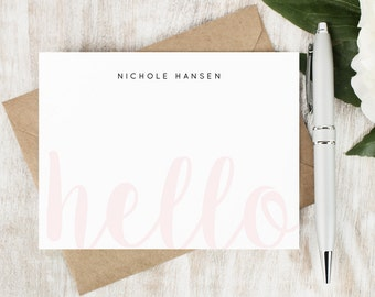 Personalized Stationery Set / Personalized Stationary / Personalized Note Cards / Cute Hello Cards / Flat Notecards // FAINT HELLO