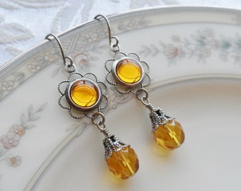 75% Off Clearance Sale, Golden Yellow , Vintage Glass Cameo, Antique Silver Finish