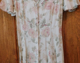 Vintage Dress Dawn Joy Soft Floral Print with Lace Collar Size Small