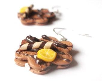 Food Earrings Cake Earrings (miniature cake polymer clay biscuit earrings mini food earrings chocolate earrings funny jewelry gift for girl)