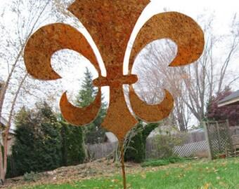Fleur De Lis Garden Stake, Garden, Art, Ornament, Rustic, Metal