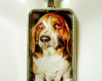 Basset hound pendant and chain - DAP16-010