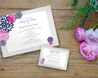 Sets of 10 Customizable Modern Floral Wedding Invitation Suite