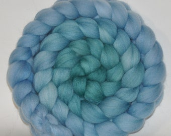 Merino and Tussah silk (75/25) Custom Blend Roving Hand Dyed  5.18 ounces - Mermaid  Combed Top