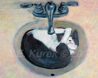 Cat Art - Cat Print - Cat Taking a Nap - Tuxedo Cat Art  - 5x7 PRINT - Bathroom Decor