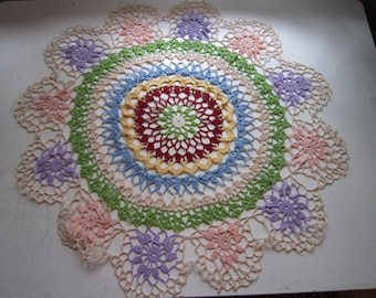 Large, colorful summer crochet blanket