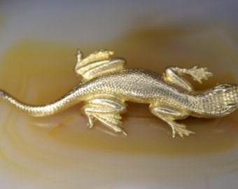 Yellow Gold Filled Lizard Pin