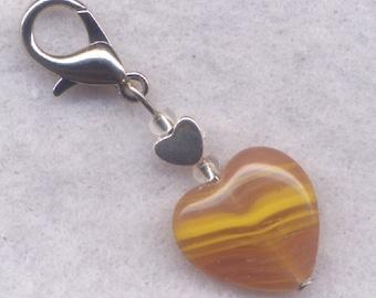 Toffee Heart Stitch Marker Clip Stripey Caramel Chewy Goodness Heart Single /SM216G
