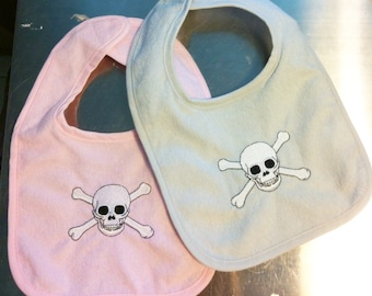 Baby bib SKULL & CROSSBONES Embroidered handmade