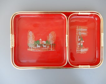 vintage set of 3 red plastic lacquered serving trays set asian taiwan horses lacquerware tray set 3 piece