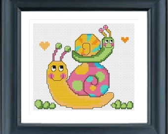 Animal Cross Stitch Pattern pdf, Cute Animals, instant download, Modern Cross Stitch Pattern, Chinese Cross Stitch, Snail Mommy And Her Baby