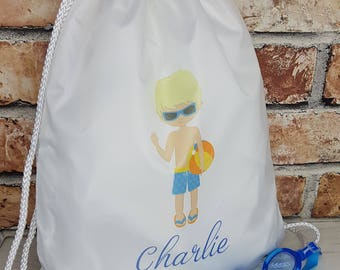 Personalised swimming boy Drawstring backpack bag, swimming bag, water-resistant, child's bag, kid's bag, school bag