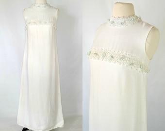1970's White Sleeveless Empire Waist Bridesmaid, Bridal, Wedding Dress