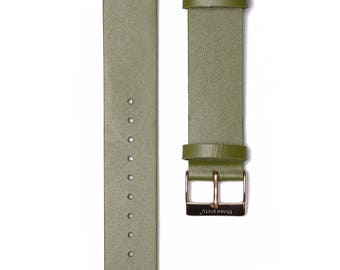 Rose Gold Buckle Watch Strap. Genuine Leather Interchangeable Strap.