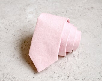 Pale Blush Pink Linen Skinny Ties