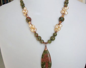 Beautiful Pearls and  Unakite Necklace - Gorgeous Olive Green and Peach Unakite Semi-Precious Gemstones, FW Pearls, and Tear-drop Pendant